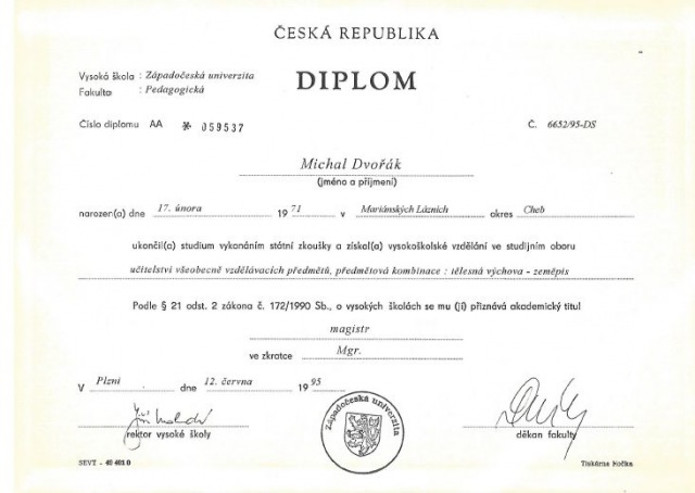 12. Mgr. M. Dvořák - diplom ZČU