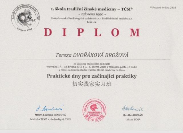 13. Diplom - 1. škola Tradiční čínské medicíny